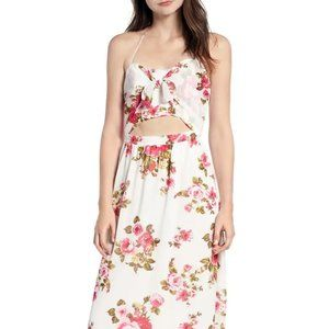 WAYF Floral Print Halter Midi Dress White XS